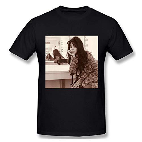 VJSDIUD Camila Cabello Creative Classic Camiseta básica de Manga Corta para Hombre Negro