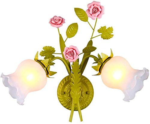 Risjc Creative 2 Lights Classic Wall Lamp Shabby Chic Floral Decorative Wall Lights Modern LED Wall Light Bedroom Bedside Lamp with Glass Screen Living Room Hotel Restaurant Wall Washer
