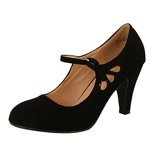 Chase & Chloe Womens Teardrop Cutout Heel Sandal Shoes Black Nubuck 8.5