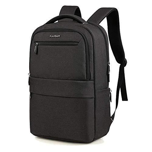 Aspen Laptop Rucksack 15.6 Zoll mit Gepäckriemen Modern Design Wasserdicht Business Outdoor Backpack Reiserucksack Schulrucksack Herren Damen Schwarz