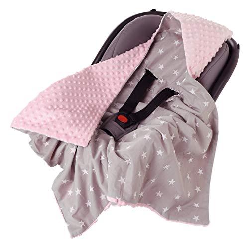 Einschlagdecke 100% Baumwolle 85x85cm Kuscheldecke für Kinderwagen Babyschale universal baby Decke doppelseitig Babydecke Buggy Autositz (weiße Sterne mit rosa Minky)