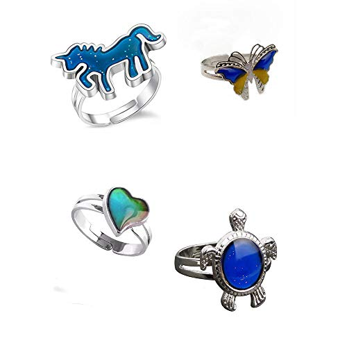 Tattooshe Color Changing Mood Ring Turtle/Butterfly/Unicorn Horse Mood Ring Adjustable Size for Women and Girls 4Pcs Pack