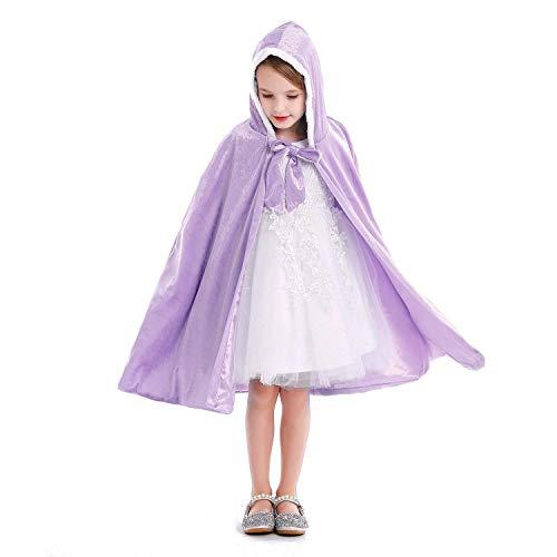 Tyidalin Capa de princesa para nios, nias, disfraz de invierno, para cosplay, fiestas, Halloween, Navidad, Carnaval, con capucha, larga, lila, M
