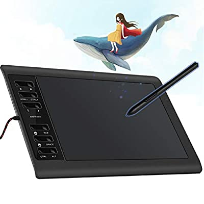 DIGITNOW! Digital Graphics Drawing Tablets,10 x 6.25 Inch Ultrathin Computer Drawing Pen Display Tablet with Battery-Free Stylus & 12 Shortcut Keys (8192 Levels Pressure Sensitive)