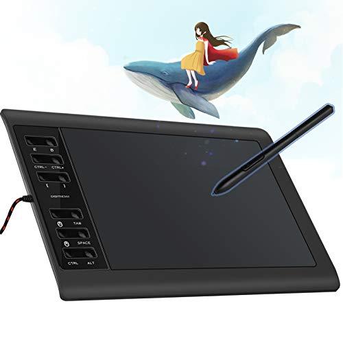 Digitnow! V1060 10 x 6.25-Zoll Grafiktablett - Digital Graphics Zeichentabletts, Computer Zeichenstift Anzeigetablett mit Batterielosem Stift und 12 Tastenkombinationen (8192 Stufen Druckempfindlich)
