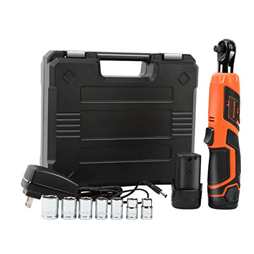 """Meagle 3/8"""" Cordless Ratchet Wrench Set with 2 Batteries & Fast Charger, 7 Sockets, Carrying Case RW08-1120"""