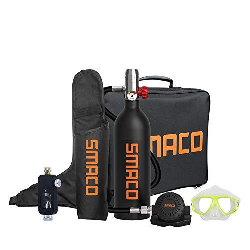 SMACO S400 Equipo de Oxígeno para Bucearde 1L Bombona Oxigeno Portatil Mini Botella de Buceo con Capacidad de 15-20 Minutos Buceo De Oxígeno del Mini Tanque (Entrega en 10 días)