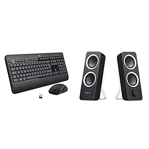 Logitech MK540 Wireless Keyboard and Mouse Combo - Black & Z200 PC Speakers, Stereo Sound, 10 Watts Peak Power, 2 x 3.5mm Inputs, Headphone Jack, Adjustable Bass - Midnight Black
