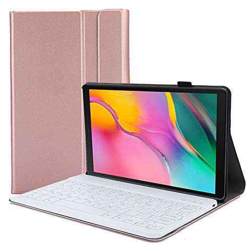 Tastiera con Cover Protettiva in Pelle Bluetooth, Tastiera Staccabile per Telefono Cellulare PortableTablet con Supporto per Tablet Samsung Tab A 10.1 2019(Oro Rosa)