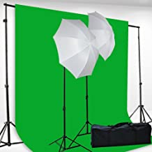 Chromakey Green Screen Kit Lighting Kit 400 Watt Video Lighting Kit by fancierstudio - 6x9-Feet Green Screen (H69G)