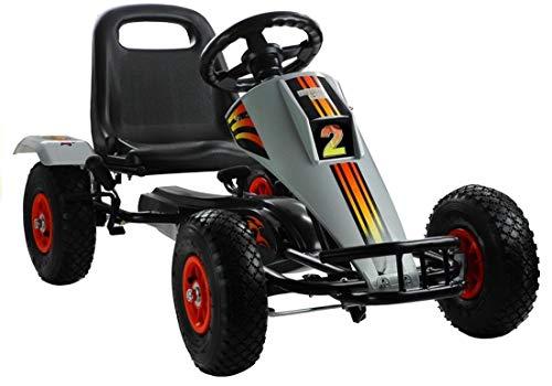 fit4form Kinder Go Kart Silverstone Racer Tretauto Gokart ab 3 Jahren mit Luftreifen