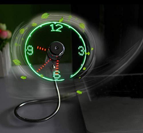 'Kbinter USB LED Clock Fan 90mm USB-Powered Portable Mobile USB Fan with Clock, LED Light Display Time, Mini Gooseneck Fan for Laptop Office Home Travel