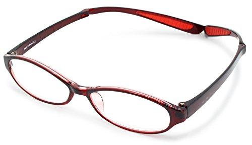 デューク 老眼鏡 首掛け +1.5 度数 ネオクラシック ネックハグ ソフトケース付き レッド GLR-22-7+1.50