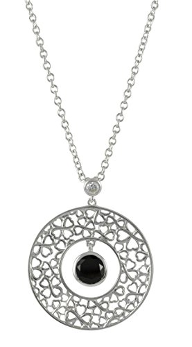 Merii M0610N/90/43/45 Necklace Zirconia Black in Flower Ornament Round Movable Pendant