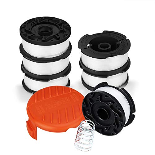 """Zweel String Trimmer Spool Replacement for Black and Decker AF-100, 30ft 0.065"""" Refills Line Auto Feed Single Weed Eater,GH600 GH900 Edger with RC-100-P Spool Cap Covers (6 Spools, 1 Cap,1 Spring)"""