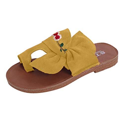 HDUFGJ Damen Sandalen gestickt Bunion Zehenkorrektur Hausschuhe Flache Hausschuhe Strandschuhe Outdoor-Schuhe Wedges Clogs komfortable Zehentrenner Leder BequemeGelb(35.5)