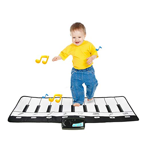 """vmree Keyboard Playmat, 10 Keys Piano Play Mat - Electronic Dance Floor Mats Adjustable Vol. - Best Music Gift for Boys Girls & Baby Early Educational Toys, 39"""" x 14"""" (Multicolor)"""