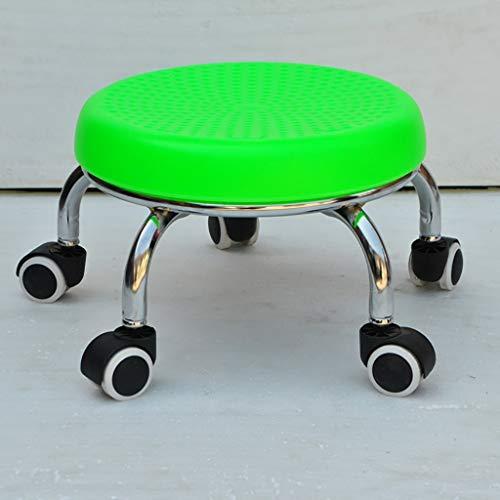 Lwjjby kleine kruk, met wieltjes ronde kruk, verrijdbaar met rol - voor de mobiele voetenbank