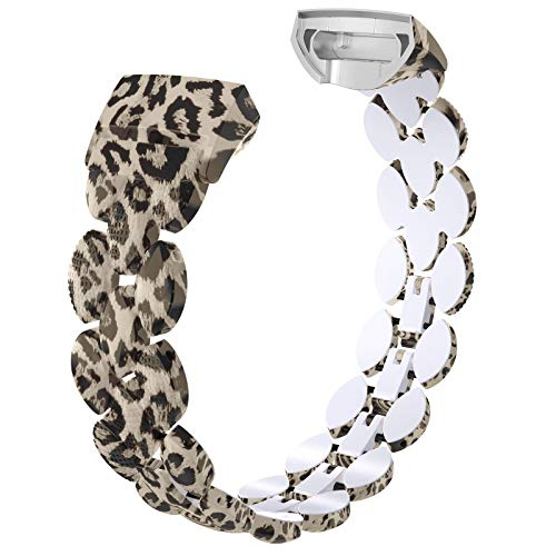 Wearlizer Compatible with Fitbit Charge 3 Bands for Women Metal Replacement Fit Bit Charge 3 hr Band Accessories Strap Bracelet Bangle Silver Rose Gold Black (Leopard)