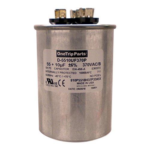 OneTrip Parts USA Run Capacitor 55+10 UF 55/10 MFD 370 VAC 2-1/2' Round