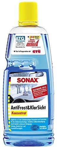 SONAX AntiFrost&KlarSicht Konzentrat (1 Liter) ergibt bis zu 3 Liter Winter-Scheibenwaschwasser, sofort mischbereit, schlierenfrei, Antikalk-Effekt | Art-Nr. 03323000