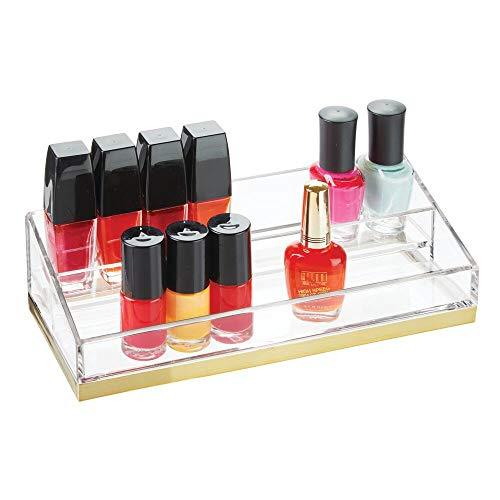 mDesign organisateur maquillage pratique – rangement maquillage décoratif pour vernis et poudre – range maquillage avec 2 compartiments – couleur transparent/laiton