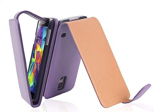 Cadorabo Funda para Samsung Galaxy S5 / S5 Neo in ORQUÍDEA Violeta - Cubierta Proteccíon Estilo Flip de Cuero Sintético Liso - Etui Case Cover Carcasa