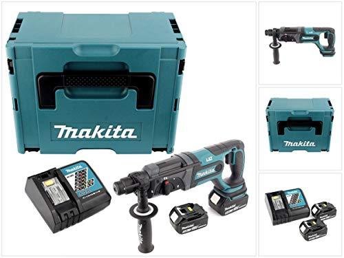 Makita DHR 241 RTJ Akku Bohrhammer 18 V Li-Ion mit SDS-Plus Aufnahme im Makpac + 2x BL 1850 B 5,0 Ah Akku + DC 18 RC Schnellladegerät