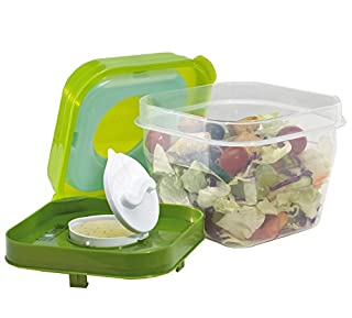 Fit & Fresh Salad Shaker Reusable Plastic Container with Dressing Dispenser and Ice Pack, Healthy Lunch Box Set, 4-Cup Capacity, BPA-Free (B000FNEVQG) | Amazon price tracker / tracking, Amazon price history charts, Amazon price watches, Amazon price drop alerts