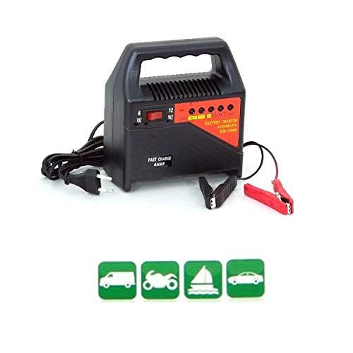 Compatible con AIXAM cargador automático para coche, moto, scooter, quad, caravana, cargador de baterías 6 A de 6 V/12 V 63 W, baterías de plomo, Deep-cyc, AGM, gel