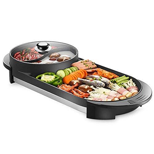 BBQ - Das Elektrische Koreanische Barbecue-Hot Pot Maifan Stone-Multifunktions- Und Hot Pot-Tischgrill Und Fondue Mit Keramikbeschichtung 1700W [Energieklasse A]