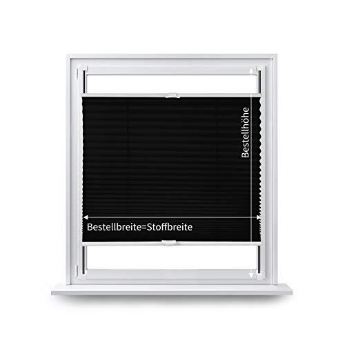 Eurohome Gardinenbox - Estor plisado (60 x 200 cm, fijación sin agujeros, para ventanas), color gris