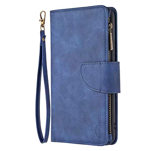 Funda tipo cartera para Samsung Galaxy A42 5G, de piel multifuncional, desmontable, cierre magnético, correa para la muñeca, con funda para teléfono con tarjeta de crédito, color azul
