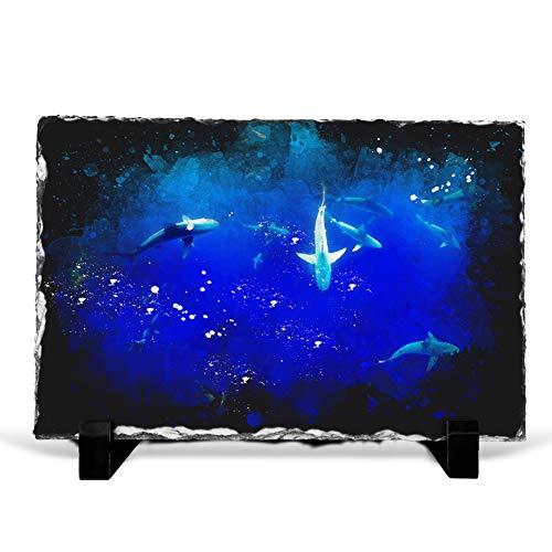 Big Box Art Oahu Sharks Paint Splash - Slate Rock Picture Frame Home Décor Ornament - 30x20 cm