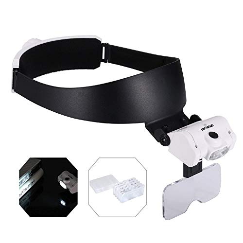 YOCTOSUN Rechargeable Headband Magnifier with 2 LED Lights and 5 Detachable Lenses 1X,1.5X,2X,2.5X,3.5X, Hands-Free Head Magnifying Glasses for Close Work, Jewelry Work, Watch Repair, Arts & Crafts