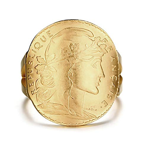 BOBIJOO Jewelry - Ring, Zegelring, Marianne Staal Verguld Gouden Munt van 20 Francs Napoleon Mariane MAT Gouden Gebogen