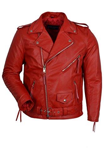 Smart Range - Brando Classique Moto Moto Véritable Peau De Vache Cuir Veste - Homme - Taille : Small - Couleur : Rouge