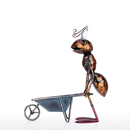 Kedelak Sculpture,13-Zoll-Ameisenskulptur Eisen-Cartoon-Ameise mit Abnehmbarer Schubkarre Garten- oder Schreibtischdekor Sukkulenter Blumentopf Schmuckaufbewahrung