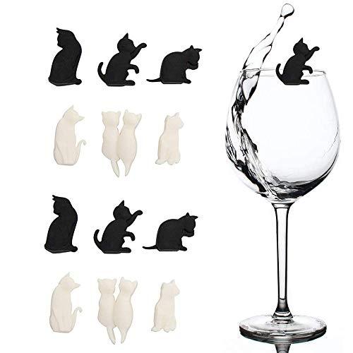 12 marcadores de bebidas para copas de vino, abalorios de silicona con forma de gato para bolsas de té para fiestas, regalo para los amantes de los gatos, fiesta de degustación de vino