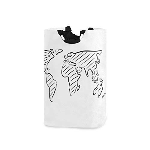 SIONOLY Wäschesack Weltkarte Skizze Umriss Kunstvoller Druck Großer Faltbarer Wäschekorb,zusammenklappbarer Wäschekorb,zusammenklappbarer Waschvorratsbehälter