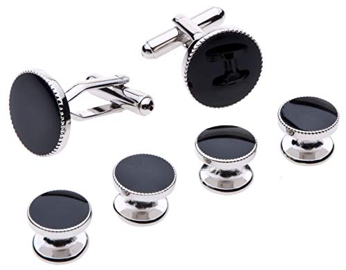 Cufflinks and Studs Set for Tuxedo - Formal Black with Shiny Silver Trimming by Velette