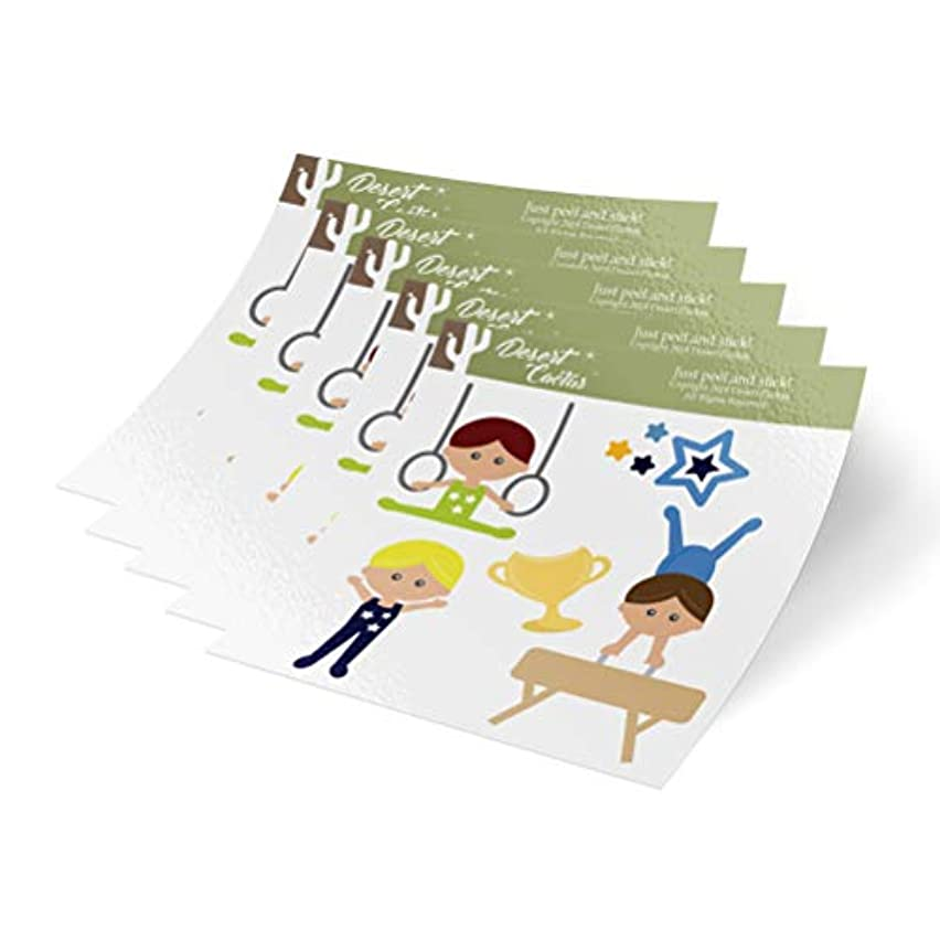 Boys Gymnastics Flowers 5-Pack Themed Sheets of Stickers 6.5