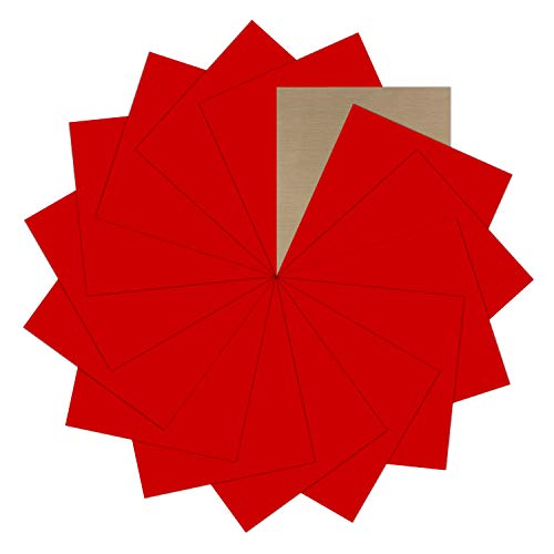 "Red Heat Transfer Vinyl Bundle : 15 Pack 12"" x 10"" Sheets - Red Iron on Vinyl for DIY Iron on Fabrics T-Shirts Heat Press Machine"
