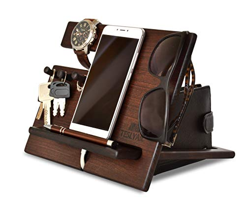 Wood Phone Docking Station Cherry Hooks Key Holder Wallet Stand Watch Organizer...