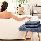 Set di 3 asciugamani 1 asciugamani da bagno e 2 asciugamani per le mani, 100 cotone, Altamente assorbente, che non sbiadiscono, colore Grigio