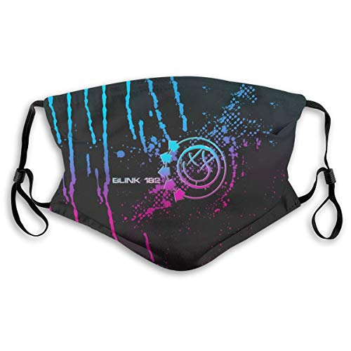 Blink 182 Logo Pm2.5 Face Bandana Kids Men Women 5-Layer Activated Carbon Filters Breathable Scarf Shield 2 Sizes M