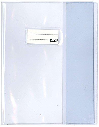 APLI 101600 - Lot de 10 Protège-cahiers PVC 19/100ème 17 x 22 cm Incolore