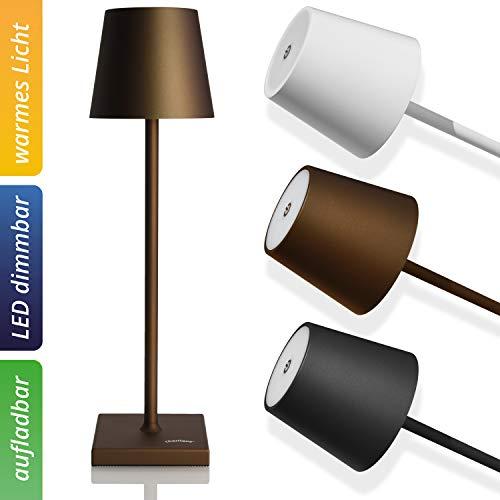 charlique® Lámpara de mesa LED con batería, color marrón, intensidad regulable, recargable, luz cálida, para interior y exterior, lámpara de mesa prémium con conector USB, arde hasta 48 h