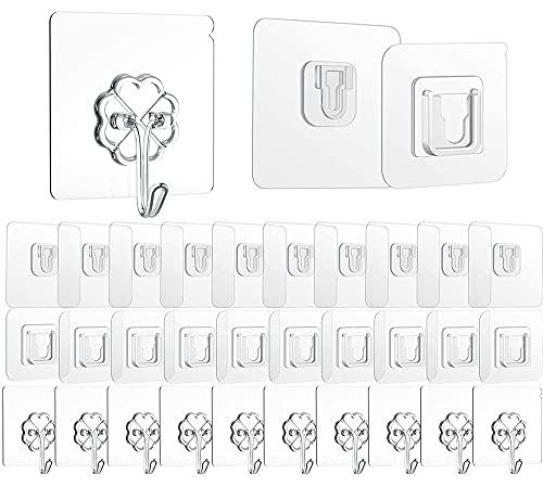 30 ganchos ganchos pared autoadhesivos blancos, doble cara ganchos adhesivos transparentes, ganchos para toallas impermeables sin taladrar, ganchos mágicos para cocina, baño, pared y techo
