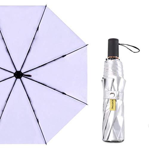 FTFSY Mode Silber Reflexschirm Regen Frauen Anti UV Winddicht Taschenschirme Reisebranche Regenschirm Mann Sonnenschirm Paraguas, lila